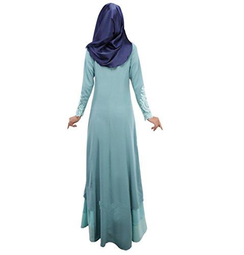 Dreamskull Muslim Abaya Dubai Muslimisch Islamisch Arabisch Indien Türkisch Casual Abendkleid Kaftan Kleid Maxikleid Damen Frauen 01blau