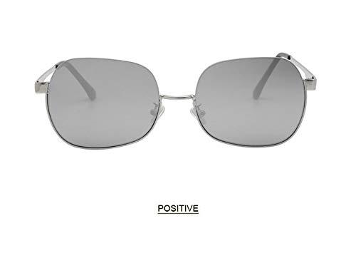 WSKPE Sonnenbrille,Anti Blaues Licht Brillengestell Hälfte Frame Sonnenbrille Frauen Männer Klar Sonnenbrille Uv400 Silver Frame Lens