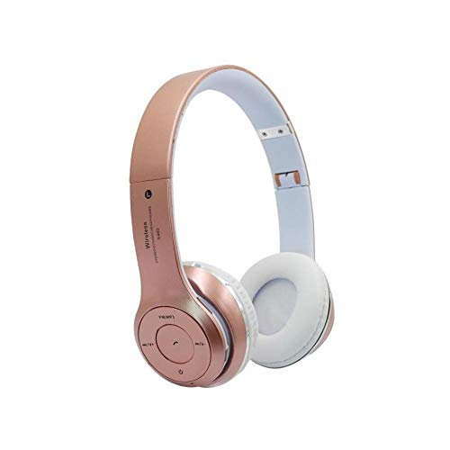 Écouteurs S460 Pliable sans Fil Bluetooth 4 0 Casque Sport Stereo Écouteur FM Radio Casque De Jeu avec Micro pour Pc Mobile Téléphone Mp3 Rose Or