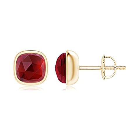 Bezel Set Cushion Garnet Solitaire Stud Earrings in 14K Yellow