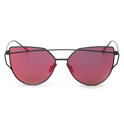 Ularma Damen Twin-Träger Vintage Classic Metallrahmen Sonnenbrille Katzenaugen Brille Reflektierenden Spiegel (Rot)