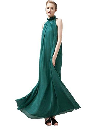 ERGEOB Damen Sommer Kleid Elegante Cocktail Party Floral Kleider Maxi ärmellosen Chiffon Abendkleid Strandkleid Grün