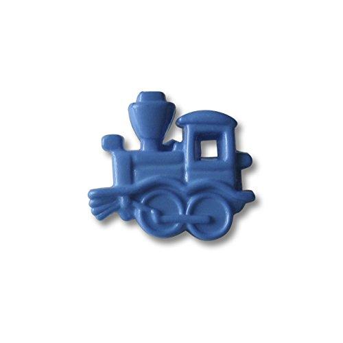 Knopfparadies - 5er Set bezaubernde blaue Kinderknöpfe wie kleine echte Lokomotive mit Durchbruch Muster / Hellblau bis Mittelblau / Motivknöpfe / Ø ca. 15x16mm (Niedlich Wie Eine Knopf Kostüm)