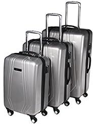 3-tlg. leichtes Reisekoffer-Set, 4-Rollen-Trolley, Hartschale mit Teleskopgriffen, platzsparend, 3 Farben