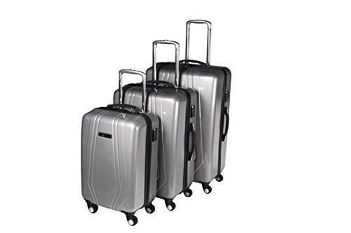 3-tlg. leichtes Reisekoffer-Set, 4-Rollen-Trolley, Hartschale mit Teleskopgriffen, platzsparend, 3 Farben (Silbergrau) Silbergrau