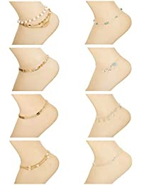 Yadoca 8-12Pcs Beach Anklets Bracelets Foot Jewelry Alloy Chain Set Adjustable for Women