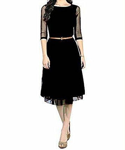 Vipul Women's Branded Black Casual Wear Printed Net Tunic (Best...
