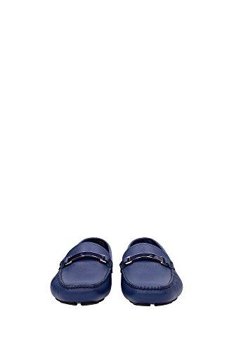 2DD099BLUETTE Prada Mocassins Homme Cuir Bleu Bleu