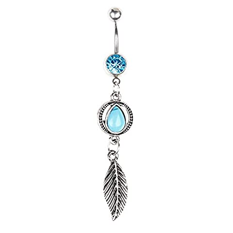 BODYA Vintage Oval drop turquoise Shield Cristal en forme de dangle Belly Button Ring navel barbell 14G Stainless Steel