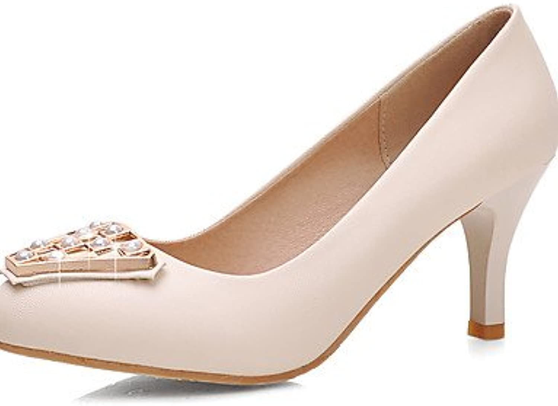 ZQ Zapatos de mujer-Tac¨®n Stiletto-Tacones / Puntiagudos-Tacones-Oficina y Trabajo / Casual / Fiesta y Noche-PU-Negro...