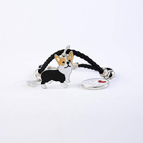 IJEWALRY Damenarmband Armbänder Armband,Mode Persönliche Französische Bulldogge Charme Armbänder Armreifen Frauen Mädchen Silber Farbe Hund Anhänger Seil Kette Weibliche Wickelarmband Schmuck