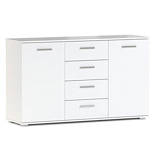 Kommode Sideboard Highboard Chicago in weiß mit 2 Türen und 4 Schubladen - Schublade, Breite Kommode