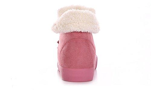 Minetom Damen Classic Schuhe Stiefeletten Winter Fur Boots Schnüren Turnschuhe Winterstiefel Warm Flats Bequeme Mode Boots Pink