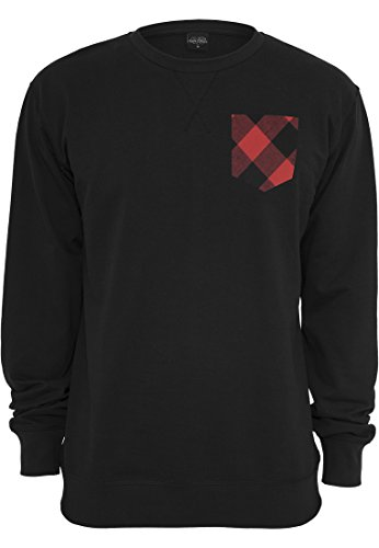URBAN CLASSICS - Contrast Pocket Crewneck (black/flanell), Gr. M (Pocket T-shirt Crewneck)