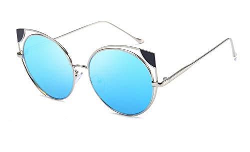 Sonnenbrille,Sonnenbrille Cat Eye Frauen Männer Sonnenbrillen Brillen Brillen Metallrahmen Hohl-Hd-Objektiv Uv400 Mode Persönlichkeit Neue Silber Blau