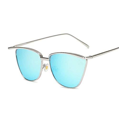 WYJW Mode Retro Party Cat Eye Style Sonnenbrille Unisex Metallrahmen Sonnenschirm Mädchen \u0026 Damen Sonnenbrille [Schwarz, Gelb, Blau, Silber, Puder]