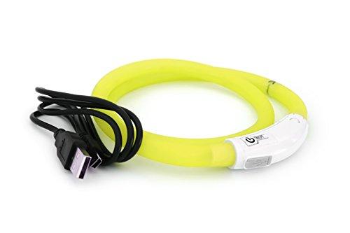 Silicón del collar LED USB collar de perro luminoso para Perro Recargable vía USB (tamaño S-L 18-65 cm se puede acortar) en amarillo por el PRECORN marca