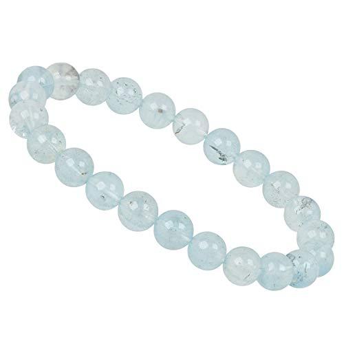 PowerBead Edelstein Perlen Armband 8mm Aquamarin AA für Damen und Herren
