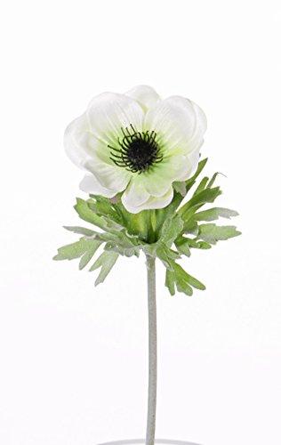 artplants Set 12 x Künstliche Anemone FILIZ, weiß-gelb, 30 cm, Ø 7 cm – Deko Windröschen/Kunstblume