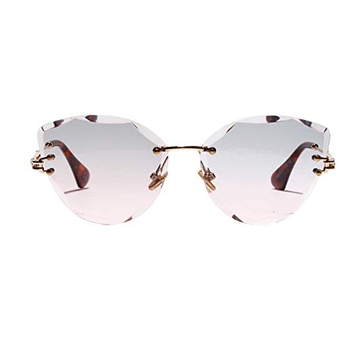 Daawqee Retro Personalized Metal Frame Sun Glasses Progressive Colored Lens Cat Eye Borderless Colorful Crystal Texture Sunglasses style HP -