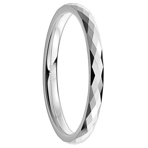Natur Fashion - 2mm Ring für Frauen Mädchen Silber mit Facettierter Oberfläche für Party Trauung Fasching Modeschmuck Größe 48 (15,3)