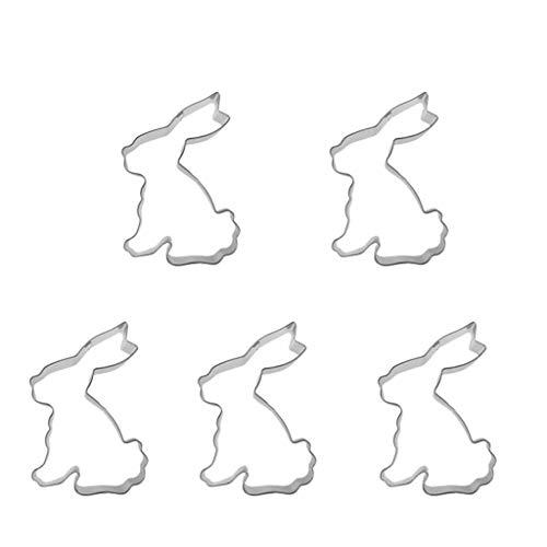 Formemory 5 Stück Edelstahl Ostern Ausstechform Hase,Kaninchen Edelstahl Keksform(5 * 8cm)