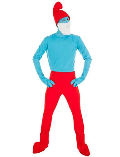 Generique - Die Schlümpfe-Papa Schlumpf Kostüm für Erwachsene blau-rot M