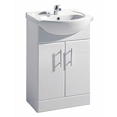 White Gloss Bathroom Vanity Unit Basin Sink 550mm Cloakroom Storage Cabinet Ceramic Furniture - 5 Year Guarantee