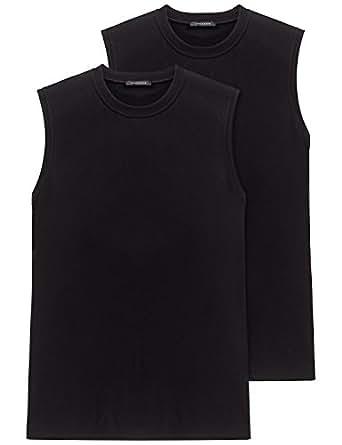 Schiesser Herren Unterhemd 2-er Pack 208010, Gr. 4 (S), Schwarz (000-schwarz)
