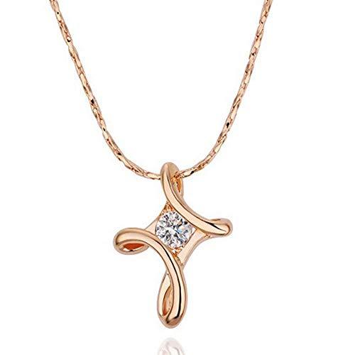Kreuz Halskette Überzogene Kristall Strass Halskette Anhänger YunYoud modern damenschmuck schöne lange ketten kordelkette markenschmuck gliederketten kugelkette perlenkette