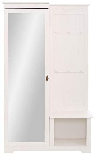 Loft 24 A/S Flurgarderobe Kompaktgarderobe Dielenschrank mit Spiegeltür Paneel mit 6 Haken Massivholz Kiefer Landhaus 110 x 45 x 181 cm (weiß)