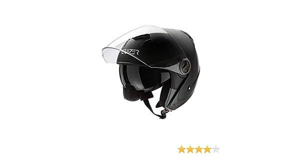 CRUIZER/ /Casque pour moto et scooter Demi Jet homologu/é avec double visi/ère int/érieur d/éhoussable et lavable chisura avec boucle support tangentiel XL noir opaque