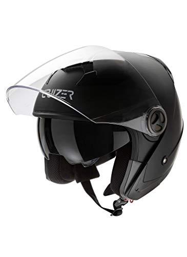CRUIZER - Casco per moto e scooter Demi Jet omologato con doppia visiera, interno sfoderabile e lavabile, chiusura con fibbia micrometrica (Nero Opaco, M)