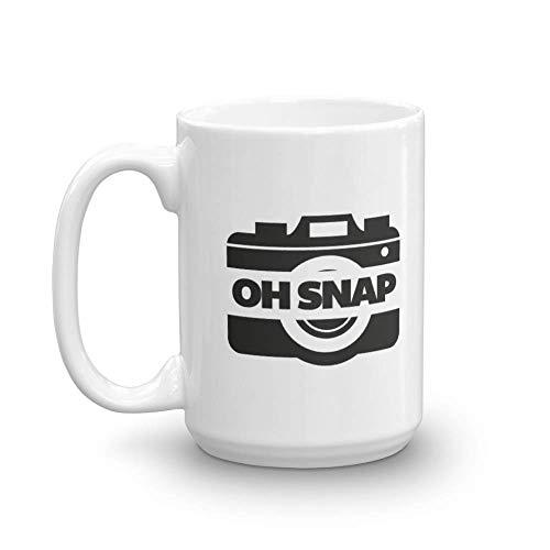Oh, Snap! Funny Pun Camera Themed Coffee & Tea Gift Mug Cup For Men & Women Photographers (15oz)