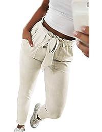 Pantalon Carotte Femme Taille Haute Rayures ou Careaux Vintage Skinny  Stretch Slim Crayon Pantalon Cigarette avec ea761b1ade63
