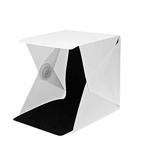 HMMJ Fotozelt Tragbar Fotostudio Set mit LED Leuchte, Beweglicher Heller Raum Kasten der Fotografie Zelt-Kit Leuchte Fotobox, Beleuchtung inkl. 2 Hintergrund. (Weiß, Schwarz) (22.6x23x24cm) Portable Photo Studio Cube