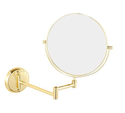 Lnxd 6 Zoll, 3/5/7 x Saugnapf Spiegel Makeup 2 Seite Kosmetikspiegel Leuchten Compact von Glas Hand bad Wandspiegel, 8 Zoll, 5 X LED (Seite Bad Leuchte)
