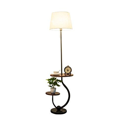 MMM- lampadaire salon canapé table basse lampe chambre chevet journal en bois massif Double maison objets plateau Vertical lampadaire (Taille: 28 * 168cm)