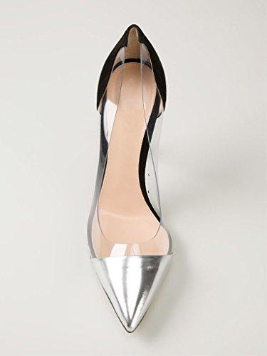 EDEFS -Escarpins Femmes - Aiguille Talon - Transparent Chaussures - A enfiler PVC Bout fermé - Taille Argent noir