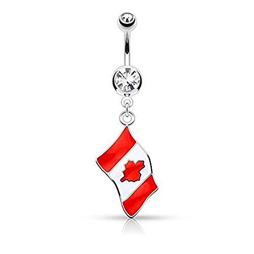 1 x Kanada Nationalflagge klare Kristall baumeln Bauch Bar Piercing Dicke: 1,6 mm Länge: 10mm Material: Chirurgischer Stahl