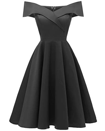Viloree 50s Rockabilly Damen Kleid Baumwolle Schulterfrei Swing Party festlich Schwarz 2XL