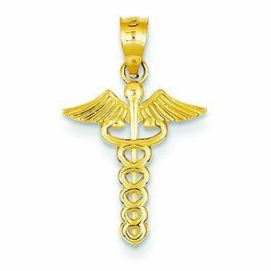PriceRock 14K Gold Caduceus Medical Pendant