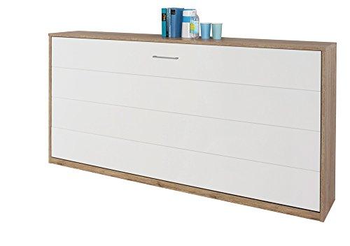 Schrankbett 90x200 in Weiß, Wandbett inklusive Lattenrost ist die perfekte Lösung für gesunden Schlaf in kleinen Räumen