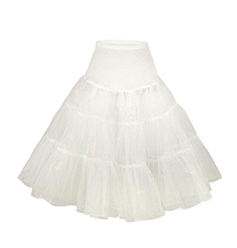 CoutureBridal® 50er Jahre Organza Vintage Rockabilly Petticoat Unterrock Underskirt Weiß
