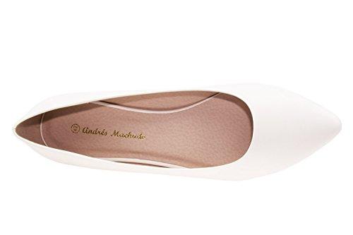 Andres Machado.AM549.Ballerines Bout Fin Soft .Pour Femmes.Grandes Pointures 42/45. Blanc.N