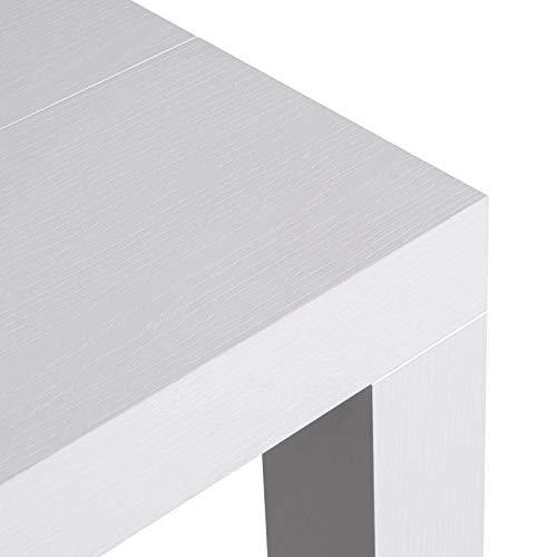icreo Tavolo CONSOLLE ALLUNGABILE ATENA Bianco FRASSINATO PORO Aperto CM46/306 X 90 H75 in nobilitato melaminico di qualità con 5 allunghe da cm 52.Prodotto Interamente Italiano di Design