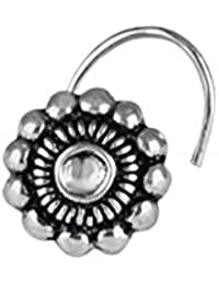 Abhooshan Tribal look Flower Shape Nose Pin in 92.5 Sterling Oxidized Silver for Women and Girls Piercing Body Jewellery