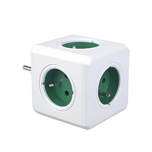Allocacoc PowerCube, Enchufede red con 5 tomas de corriente, Enchufe Multiple, de Estilo Schuko, Modelo Original, Ladrón con Forma de Cubo, Norma Francesa, Verde