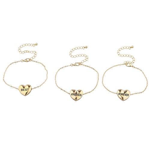 Lux accessori Best Friends Forever Oro Cuore braccialetto set (3pezzi)