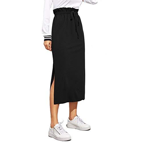HEHEAB Rock,Schwarz Paperbag Taille Split Side Rock Casual Workwear Frauen Maxirock Mit Hoher Taille Gürtel Split Saum Midi-Rock, XL -